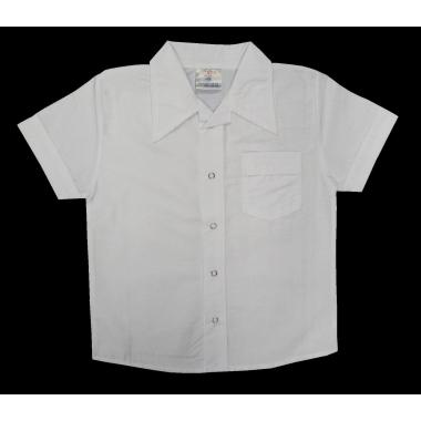 Бяла едноцветна риза с къс ръкав