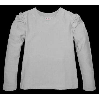 Блуза едноцветна с набор в сиво
