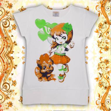 Блузон Джуди с панделка бяло/оранжево