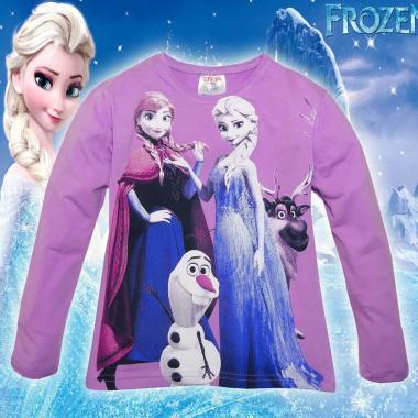 блуза тънка с дълъг ръкав Замръзналото кралство в лилаво