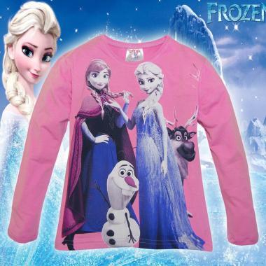 блуза тънка с дълъг ръкав Замръзналото кралство в розово