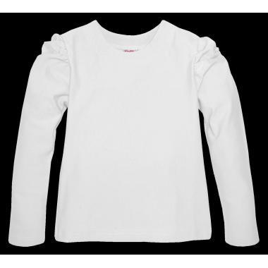 Блуза едноцветна с набор в бяло