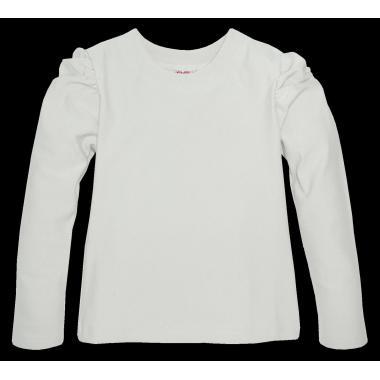 Блуза едноцветна с набор в екрю