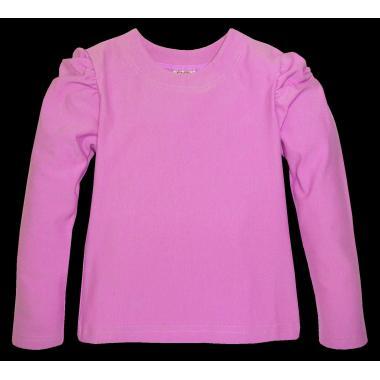 Блуза едноцветна с набор в розово