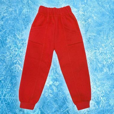 Долнище триконечна вата 2 джоба в червено