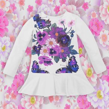 Туника-рокля Цветя и пеперуди в бяло