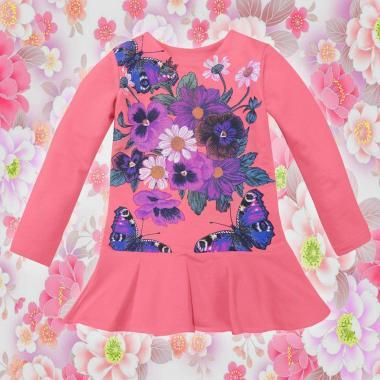 Туника-рокля Цветя и пеперуди в корал