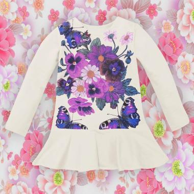 Туника-рокля Цветя и пеперуди в екрю