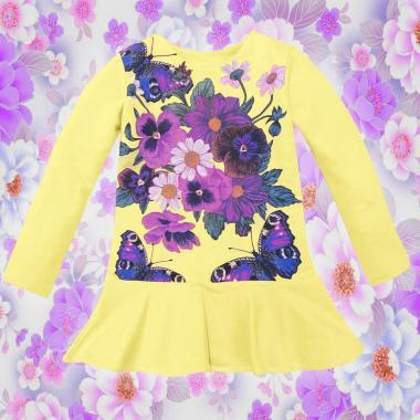 Туника-рокля Цветя и пеперуди в жълто