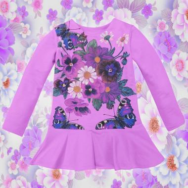 Туника-рокля Цветя и пеперуди в лилаво