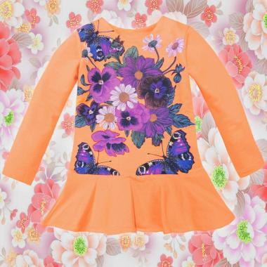 Туника-рокля Цветя и пеперуди в оранжево