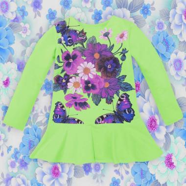 Туника-рокля Цветя и пеперуди в резеда