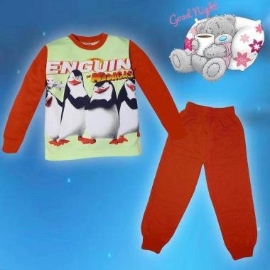 Пижама ватирана Пингвини в резеда и керемида