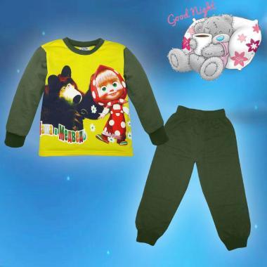 Пижама ватирана Маша и Мечока в жълто и хаки