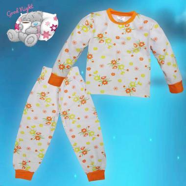Пижама Слънчев букет в бяло и оранжево N-22