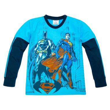 блуза тънка с дълъг ръкав Батман срещу Супермен в наситено синьо