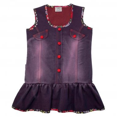 Дънкова рокля с цветни елементи в червено