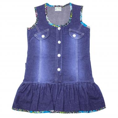 Дънкова рокля с цветни елементи в синьо