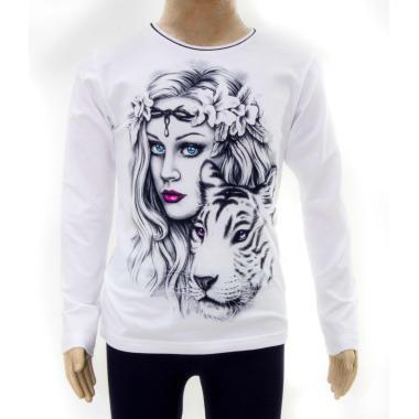 блуза тънка с дълъг ръкав Момичето с тигъра в бяло
