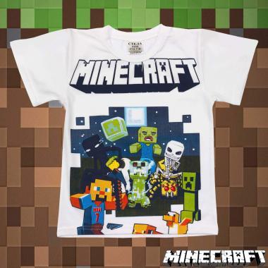 Тениска Майнкрафт в бяло