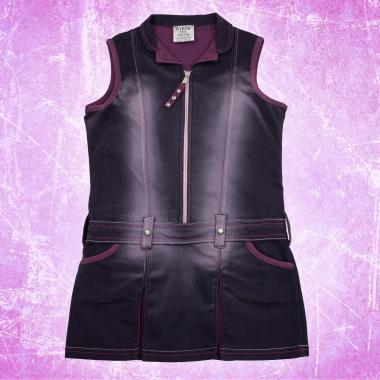 Дънкова рокля с цип и камъчета в розово