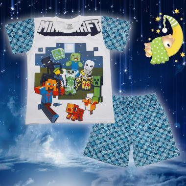 Пижама лятна Майнкрафт в бяло и синьо
