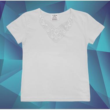 Блуза с къс ръкав и дантела в бяло