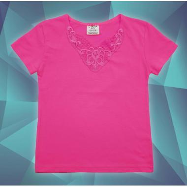 Блуза с къс ръкав и дантела в циклама