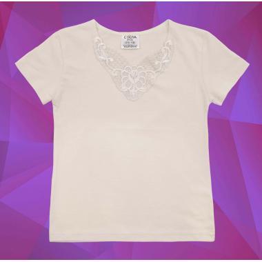 Блуза с къс ръкав и дантела в екрю