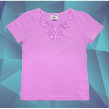 Блуза с къс ръкав и дантела в светлолилаво