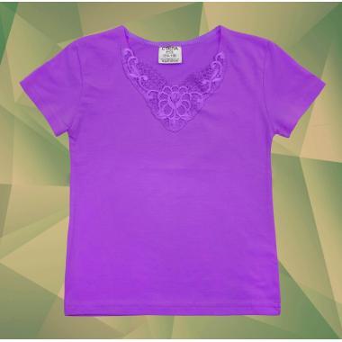 Блуза с къс ръкав и дантела в тъмно лилаво