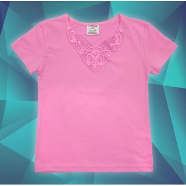 Блуза с къс ръкав и дантела в розово