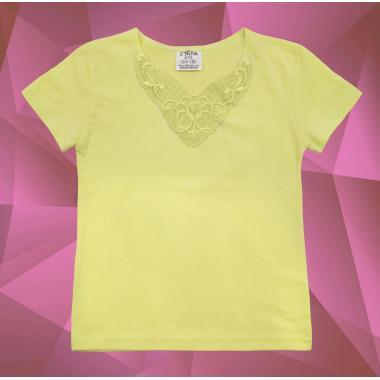 Блуза с къс ръкав и дантела в жълто