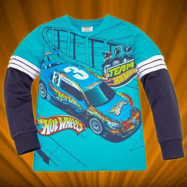 Блуза Hot Wheels с 3 канта в морско синьо