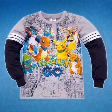 Блуза Pokemon с 3 канта в сиво
