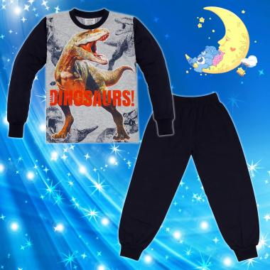 Пижама Динозаври Джурасик в сиво и тъмно синьо