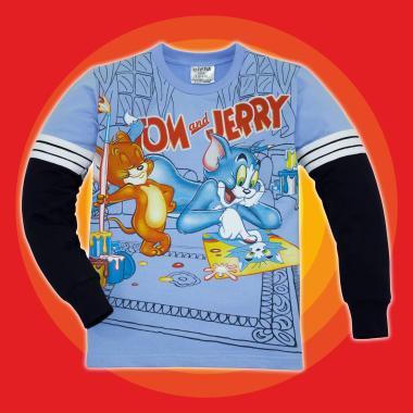 Блуза Том и Джери с 3 канта в синьо 2