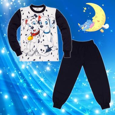 Пижама Далматинци в бяло и тъмно синьо