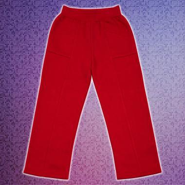 Долнище триконечна вата джобове в червено право