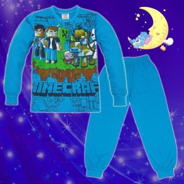 Пижама Майнкрафт в наситено синьо и тъмно синьо
