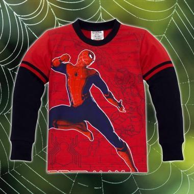 блуза тънка с дълъг ръкав Спайдърмен в червено