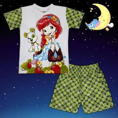 Пижама лятна Ягодов сладкиш в бяло и зелено