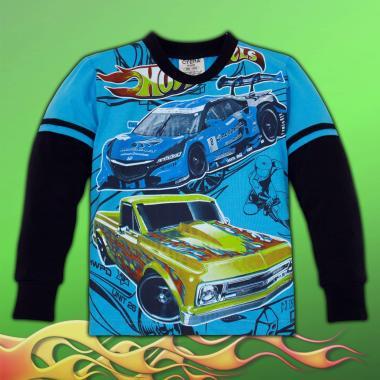 блуза тънка с дълъг ръкав Hot Wheels в наситено синьо