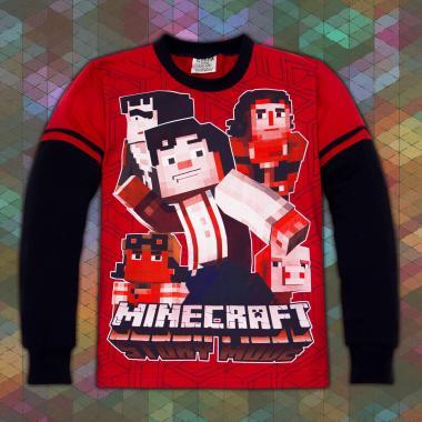 блуза тънка с дълъг ръкав Майнкрафт в червено