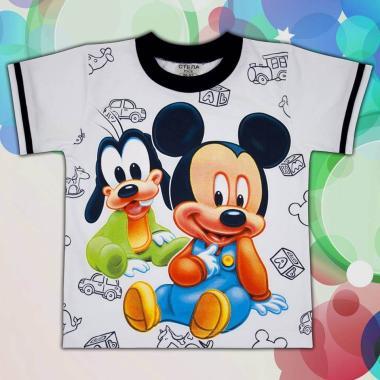 Тениска Мики Маус и Гуфи в бяло