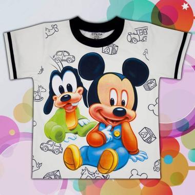 Тениска Мики Маус и Гуфи в екрю