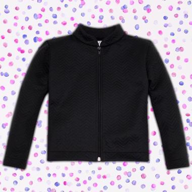 Неопреново сако със зиг-заг релефен ефект в черно