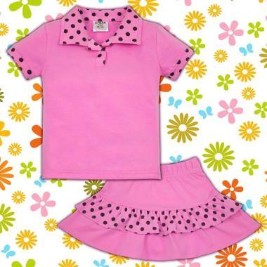 Комплект блузка и пола на точки в розово