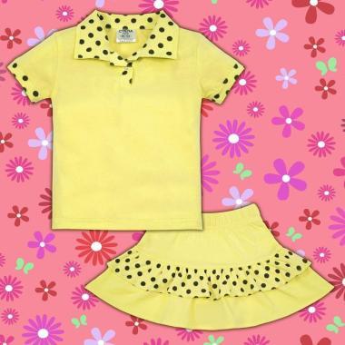 Комплект блузка и пола на точки в жълто