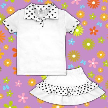 Комплект блузка и пола на точки в бяло